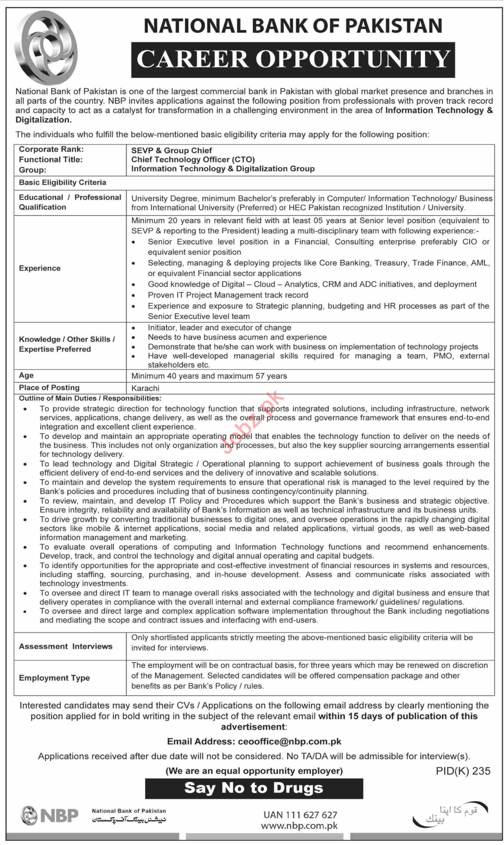National Bank of Pakistan NBP Job in Karachi