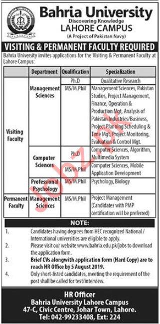 Bahria University Lahore Campus Faculty Jobs 2019