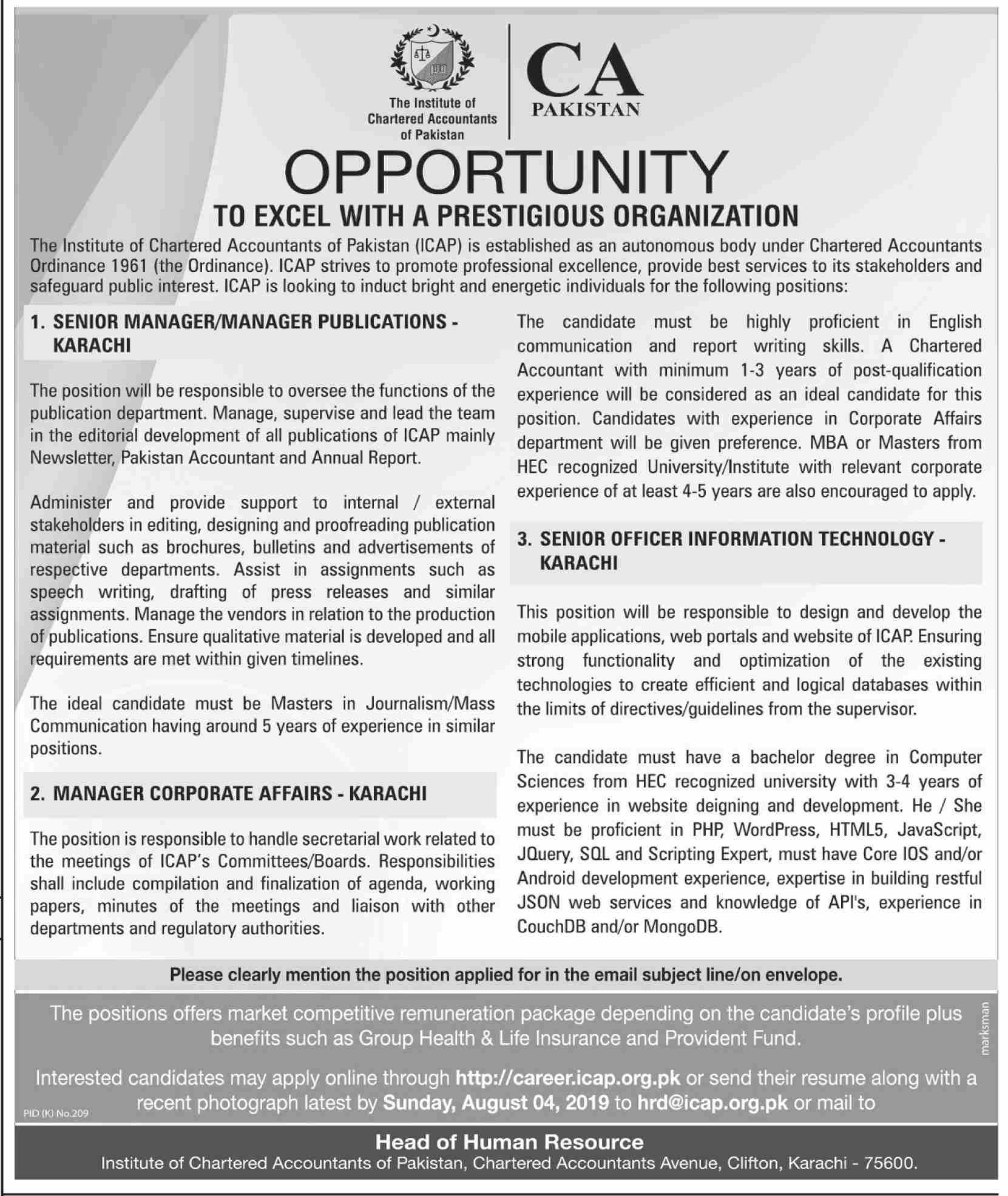 Institute of Chartered Accountants of Pakistan ICAP Jobs