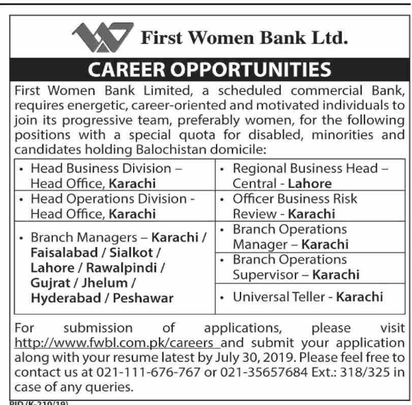 First Women Bank Limited Jobs 2019 in karachi