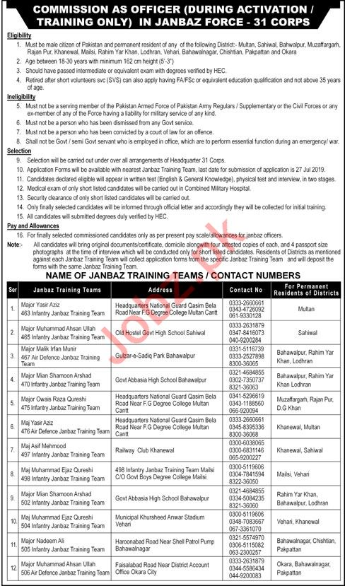 Join Janbaz Force 31 Corps As Commission Officer
