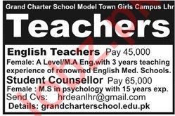 Grand Charter School Lahore Jobs 2019 for Teachers