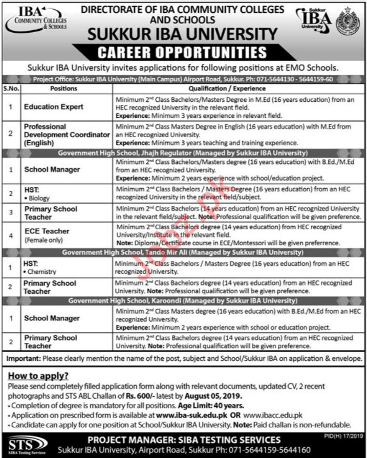 Directorate of IBA Community Colleges & Schools Jobs via STS