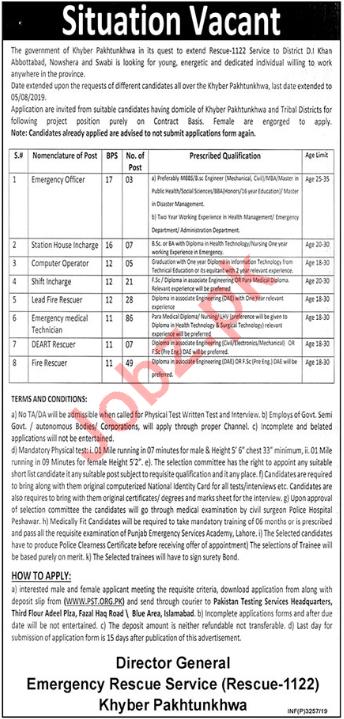 Rescue Service 1122 Khyber Pakhtunkhwa Jobs 2019