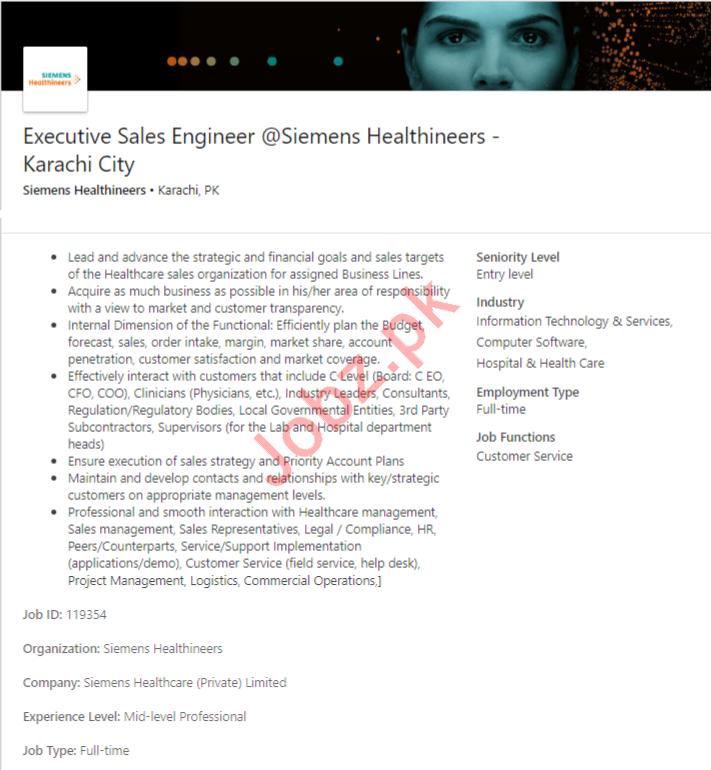 Executive Sales Engineer Job 2019 in Karachi City