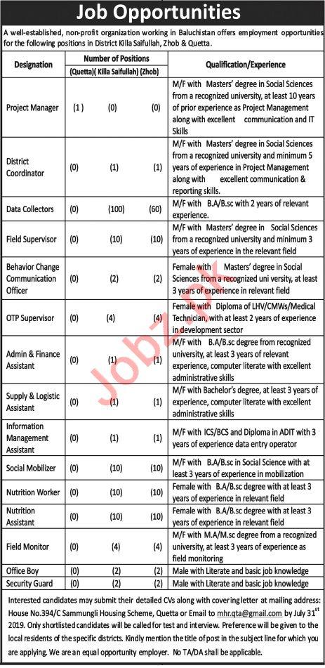 Non Government Organization Jobs in Quetta
