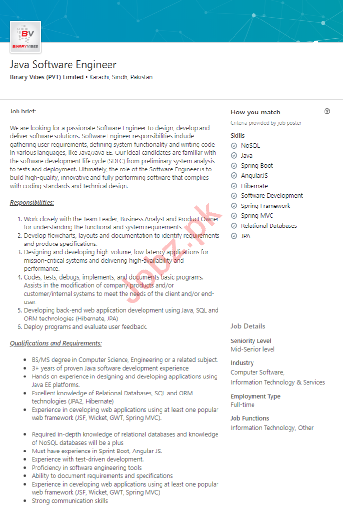 Java Software Engineer Job in Karachi