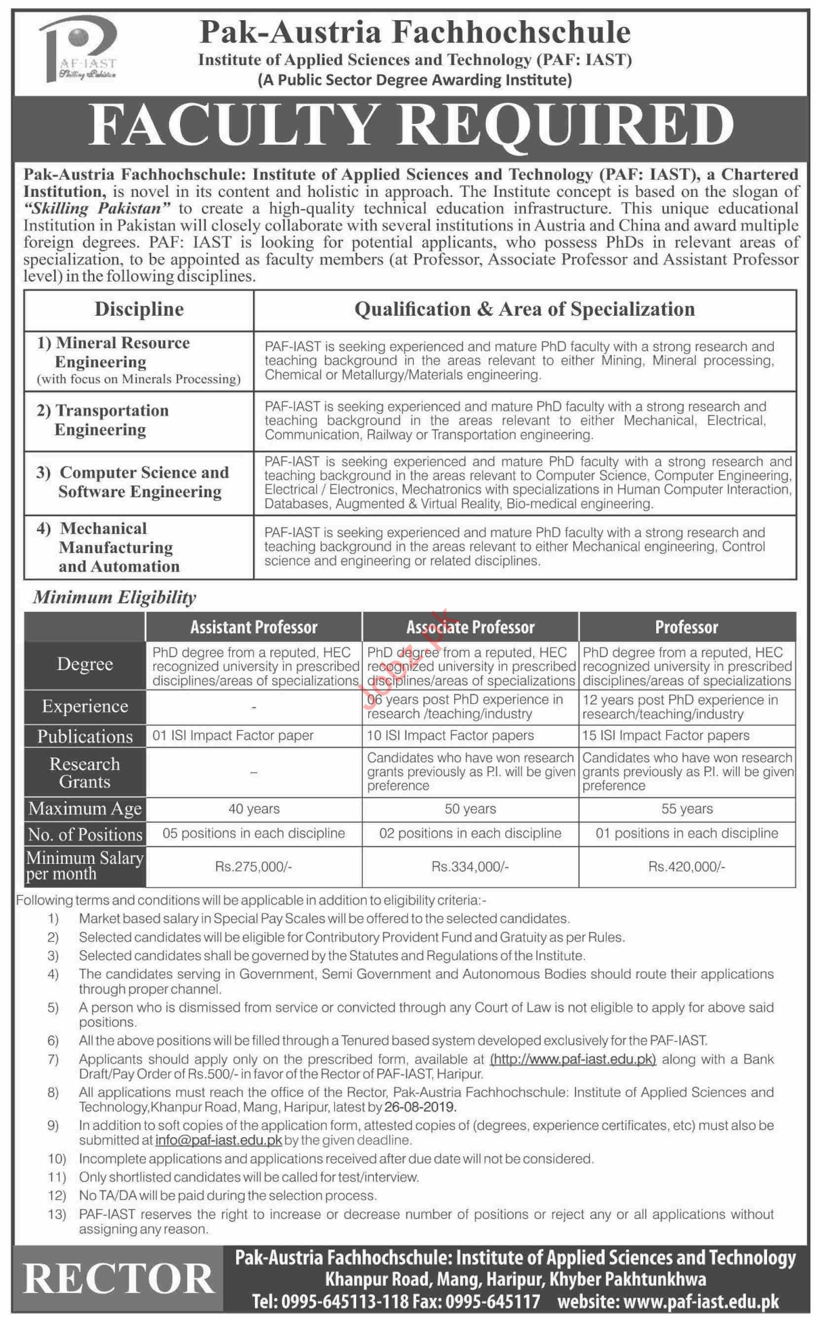 Pak Austria Fachhochschule Institute PAF IAST Haripur Jobs