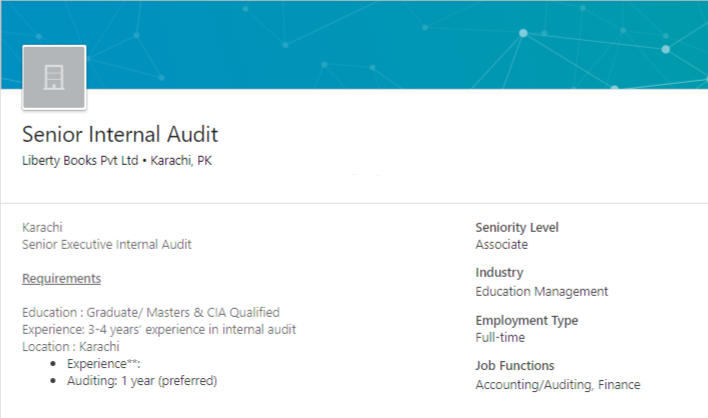 Senior Internal Audit Job in Karachi