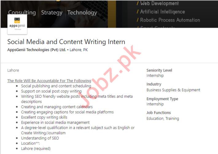 Social Media & Content Writing Internships in Lahore