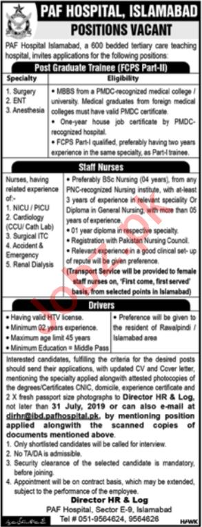 PAF Hospital Jobs in Islamabad 2019