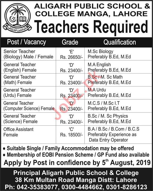 Aligarh Public School & College Jobs in Lahore