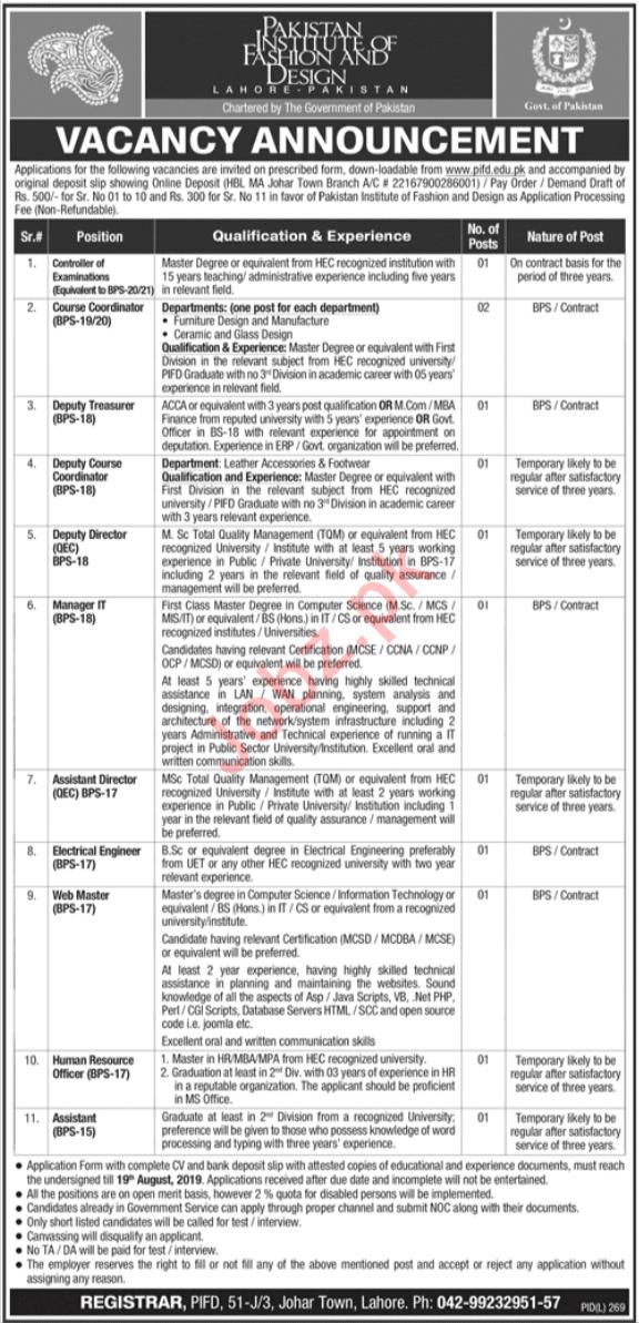 Pakistan Institute Of Fashion & Design Lahore Jobs 2019