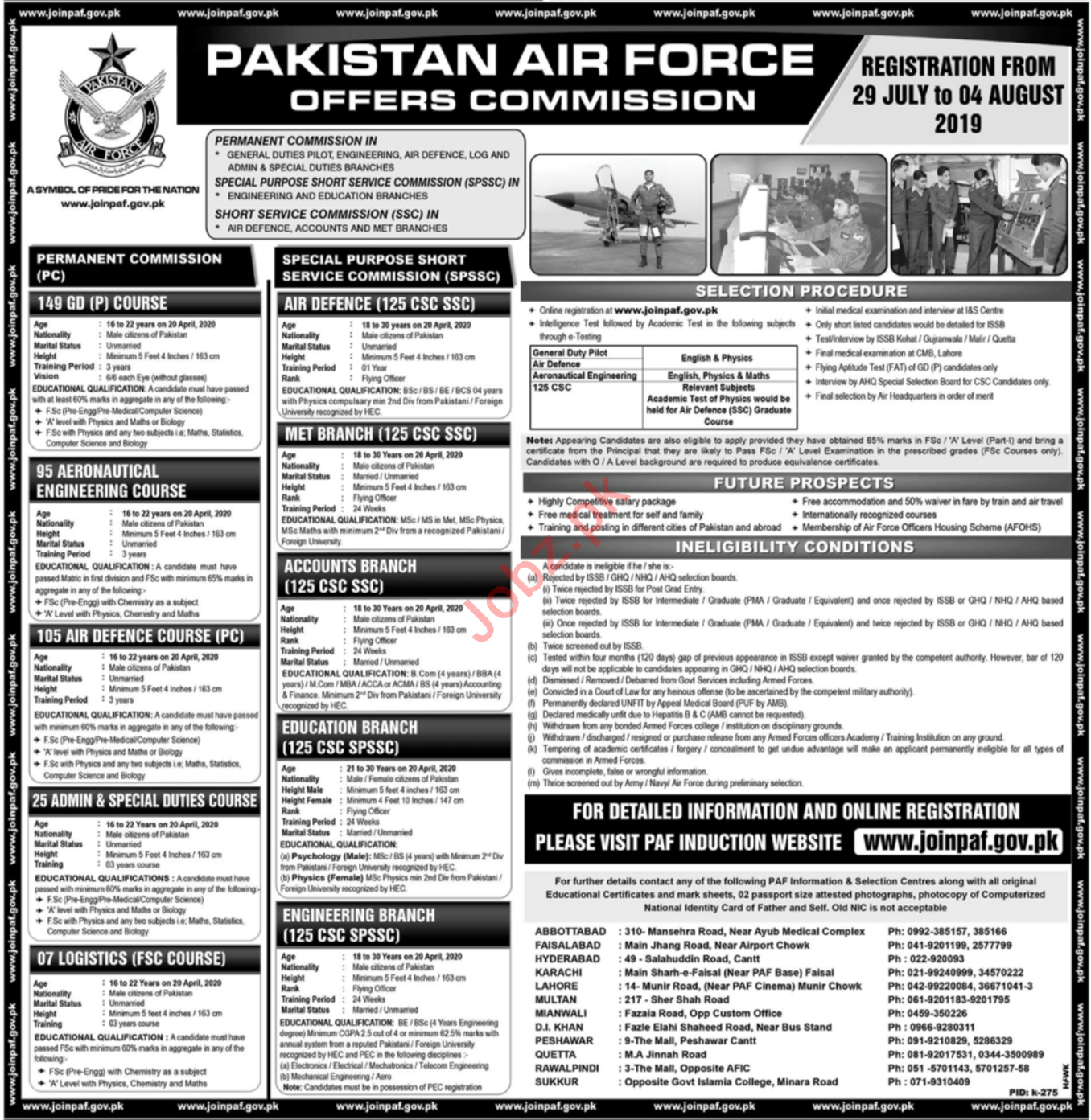 Pakistan air Force Jobs as Commission Officer 2019