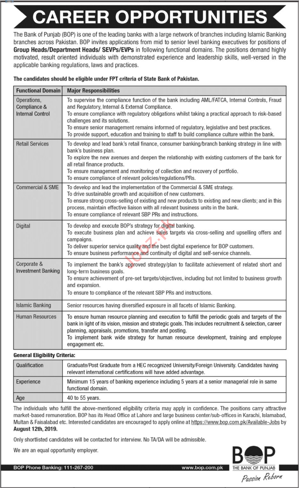 BOP The Bank Of Punjab Lahore Jobs 2019