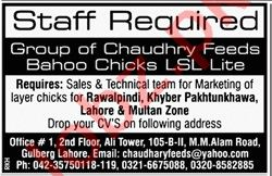 Chaudhry Feeds Mills Jobs 2019 in Lahore