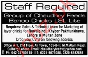 Chaudhry Feed Mills Rawalpindi Jobs for Sales Staff