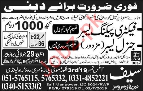 Factory Packing Labour & General Labour Jobs 2019