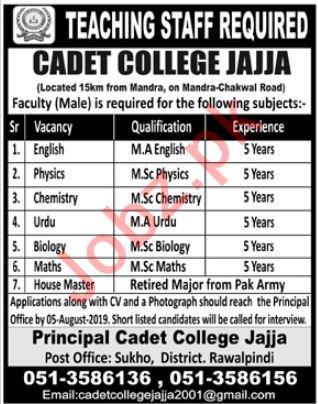 Pakistan Army Cadet College Jajja Jobs 2019