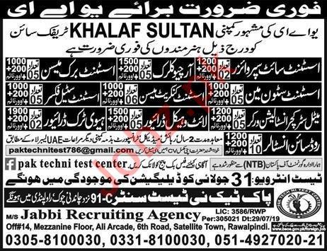 Khalaf Sultan Traffic Sign Company Jobs 2019 in UAE