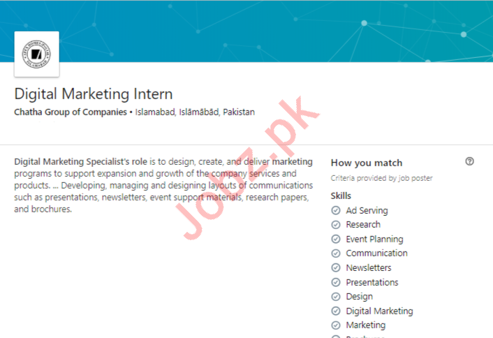 Digital Marketing Intern in Islamabad