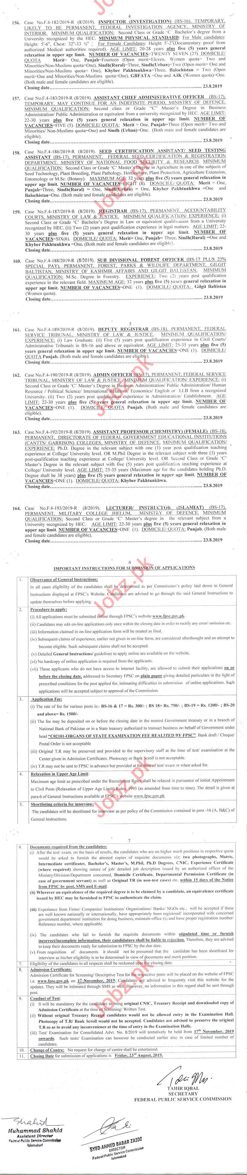 Federal Public Service Commission FPSC Jobs August 2019