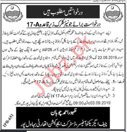 Education Department Job For Junior Clerk in Bahawalpur