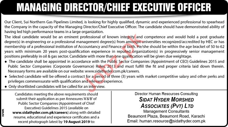 Sui Northern Gas Pipelines Limited SNGPL Jobs 2019