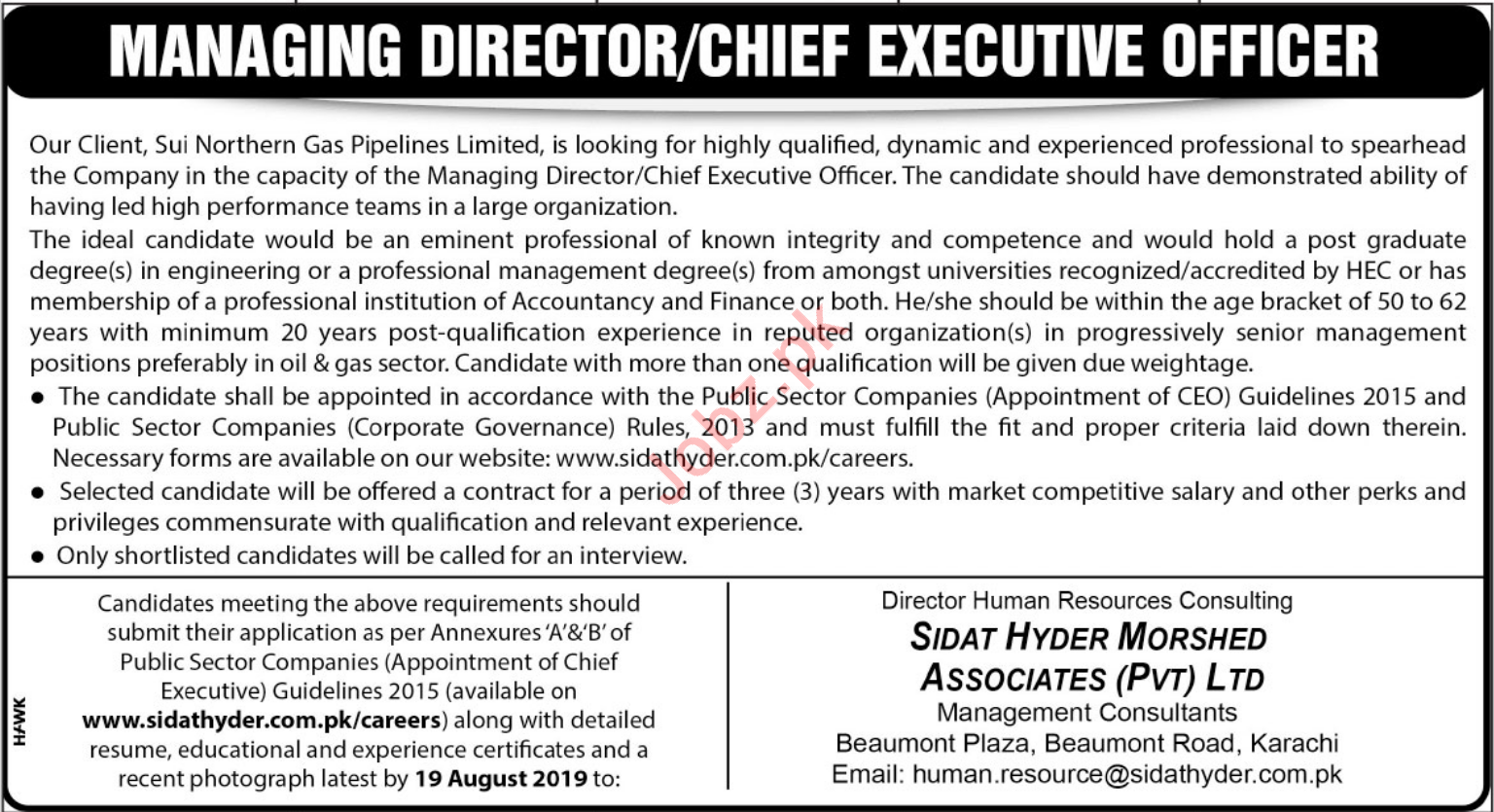 SNGPL Sui Northern Gas Pipelines Limited Jobs in Karachi