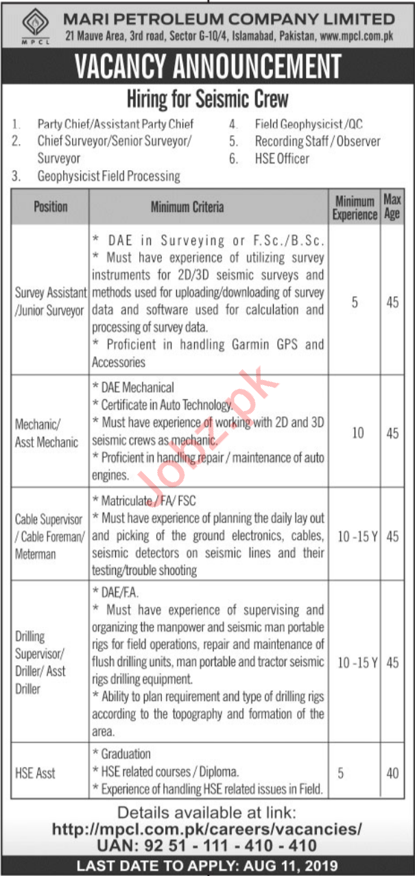 Mari Petroleum Company Limited Jobs in Islamabad