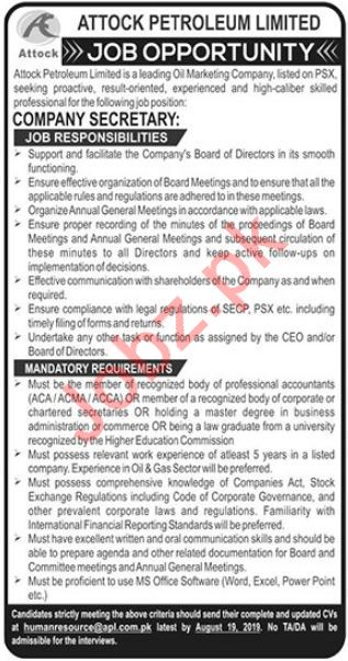 Attock Petroleum Limited Job For Company Secretary