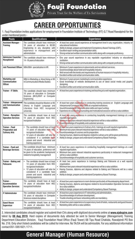 Fauji Foundation Rawalpindi Jobs 2019