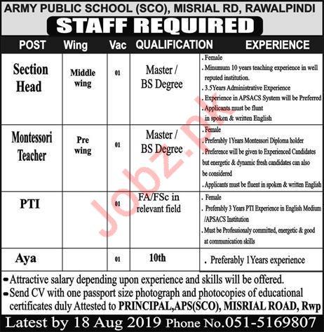 Army Public School Rawalpindi Jobs 2019
