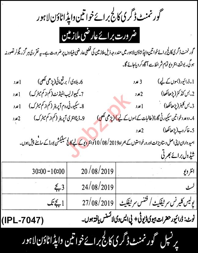 Government Degree College for Girls Lahore Jobs 2019