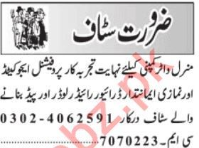 Mineral Water Company Jobs 2019 in Lahore
