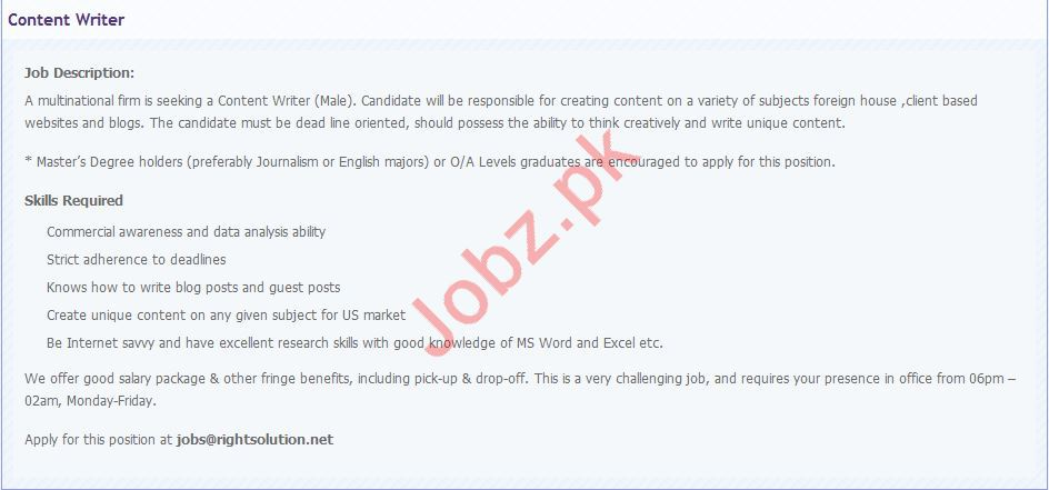 Right Solution Job 2019 For Content Writer