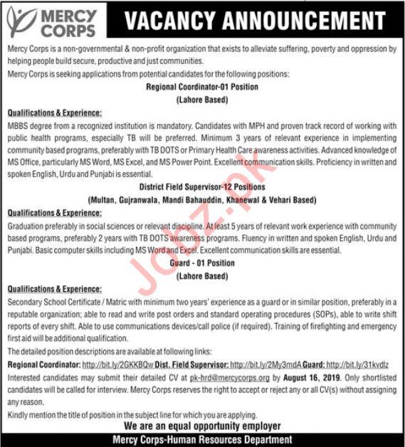 NGO Mercy Corps Pakistan Jobs in Lahore
