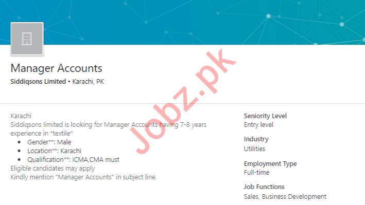 Manager Accounts Job 2019 in Karachi