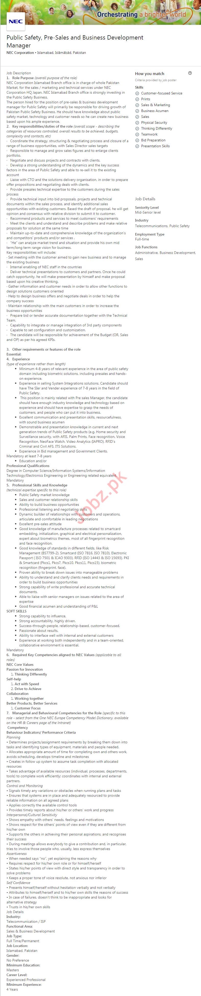 Business Development Manager Job in Islamabad