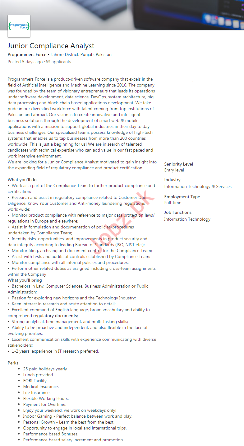 Junior Compliance Analyst Job in Lahore