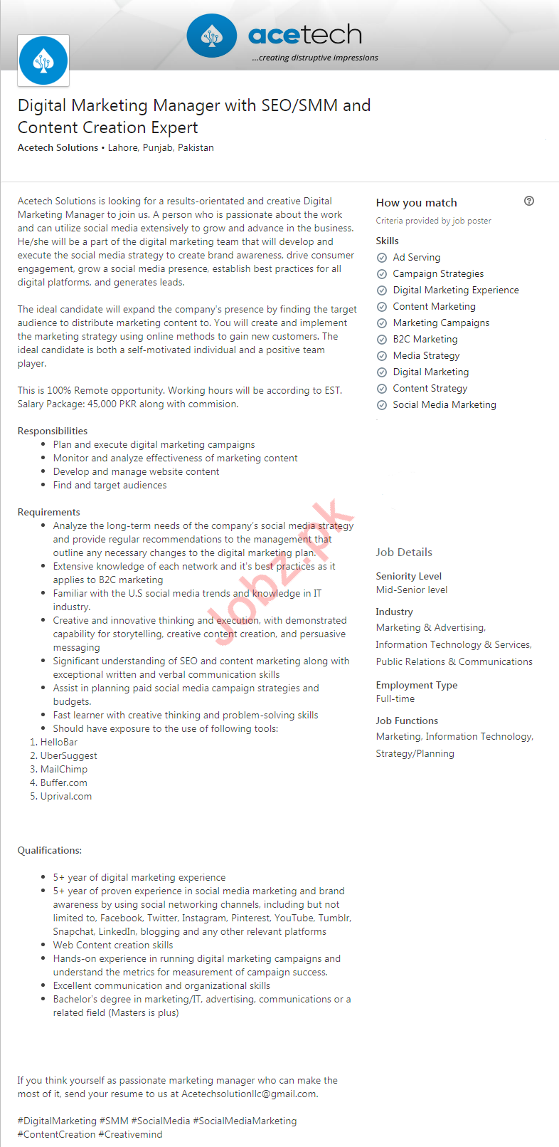 Digital Marketing Manager Job in Lahore
