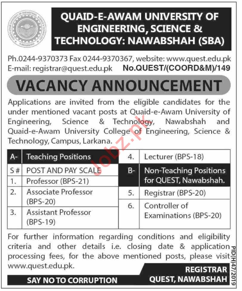 QUEST University Nawabshah Jobs 2019 for Professors