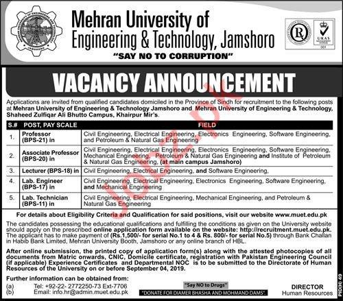 Mehran University of Engineering & Technology Faculty Jobs