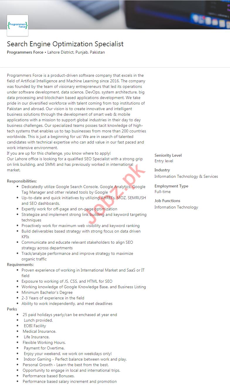 Search Engine Optimization SEO Specialist Job 2019