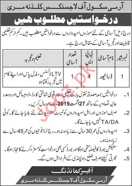 Army School of Logistics Job 2019 For Driver in Murree