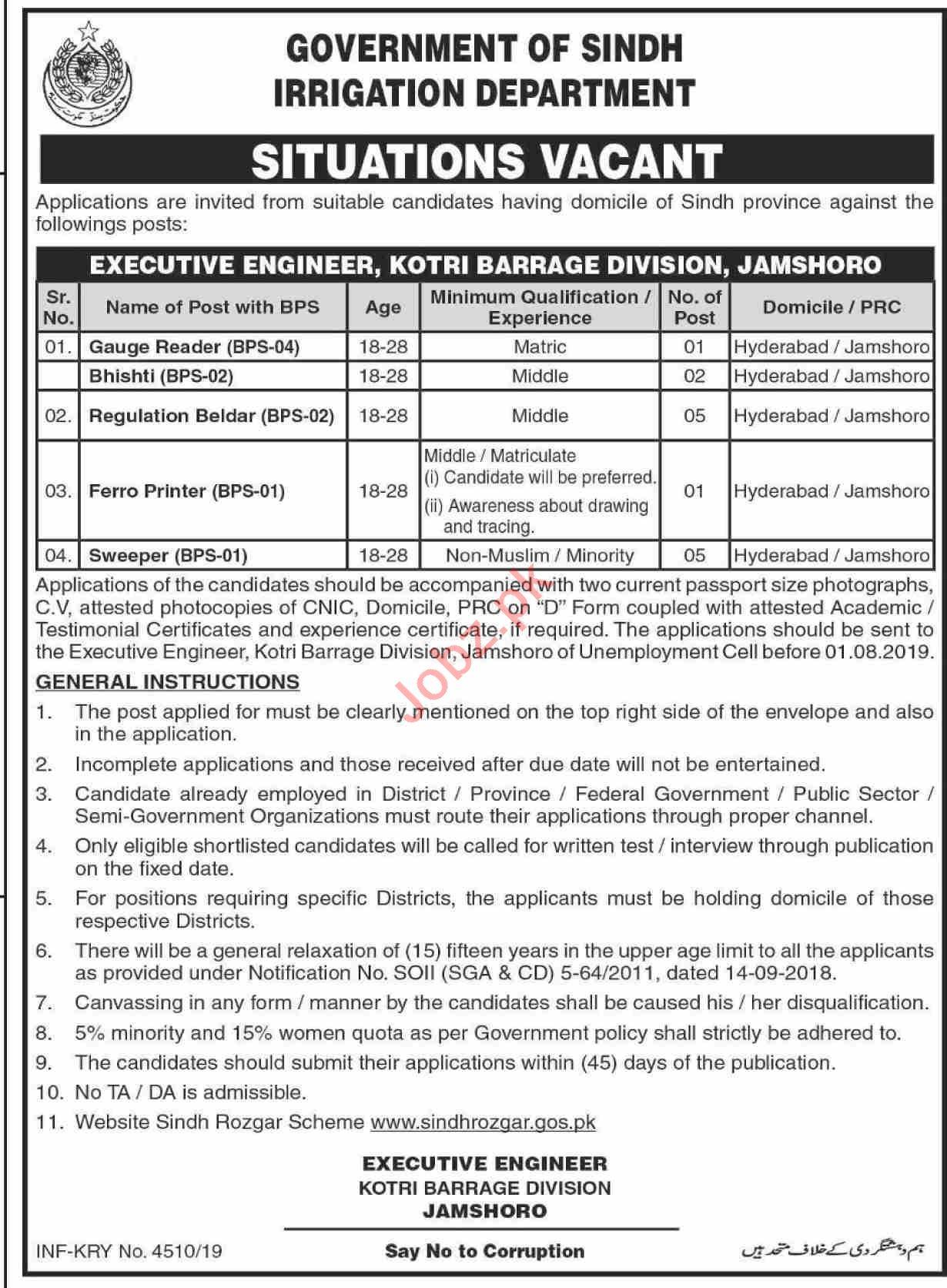 Irrigation Department Sindh Jobs for Beldar & Sweeper