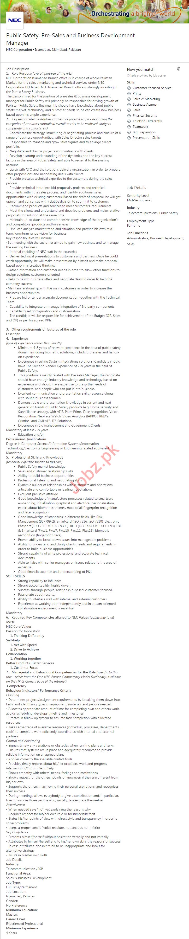 NEC Corporation Job 2019 in Islamabad