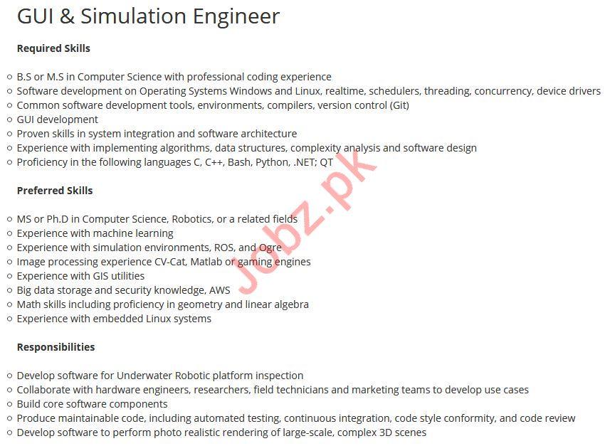 GUI & Simulation Engineer Job 2019 For Islamabad