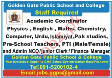 Golden Gate Public School Peshawar Jobs