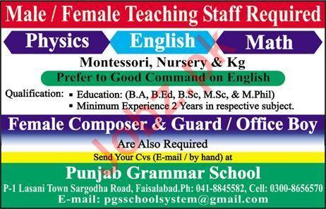 Punjab Grammar School Jobs 2019 in Faisalabad